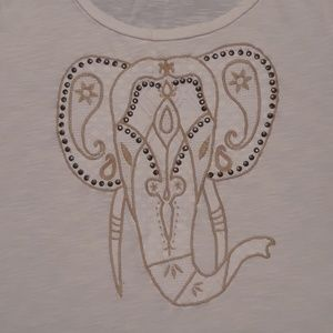 Lucky Brand Off-White Embroidered Elephant T-Shirt